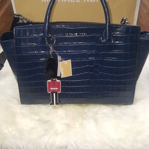 Michael Kors Selma Blue Leather Croc Embossed Bag